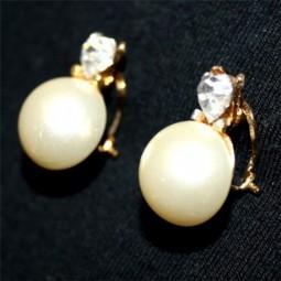 Pendientes Perla Blanca y Corazón Cristal