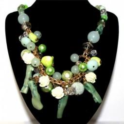 Collar Dorado Piedras Verdes