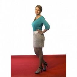 Vestido top verde y falda flecos