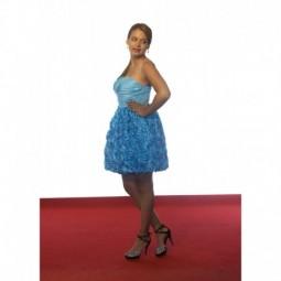 Vestido de fiesta azul flores