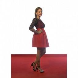 Vestido Rojo top semi transparante negro