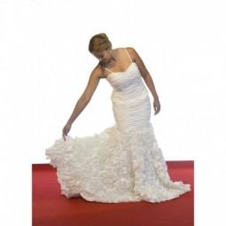 Vestido novia drapeado corte sirena