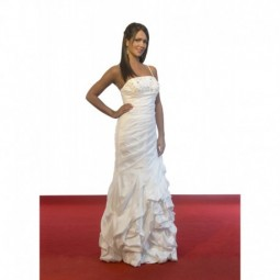 Vestido novia satén pedrería